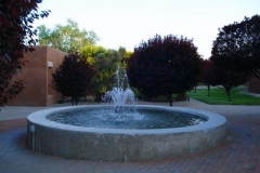 A plaza fountain